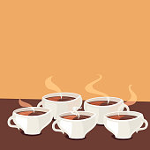 Coffee cups background. Vector illustration.