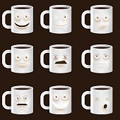 Coffee Cups Characters - Cute set of 9 coffee cups