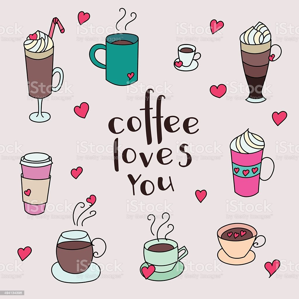 Coffee cups colorful cute set vector art illustration