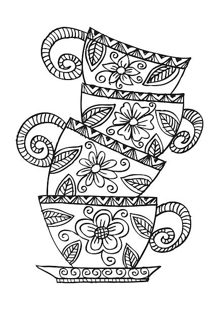 coffee cups. decorative style - stacked tea cups stock illustrations, clip art, cartoons, & icons