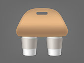 Coffee cups holder. Empty packaging with handle for carrying mockup. Two blank plastic or paper mugs isolated on grey background. Hot drink take away cafe. Realistic 3d vector illustration, clip art