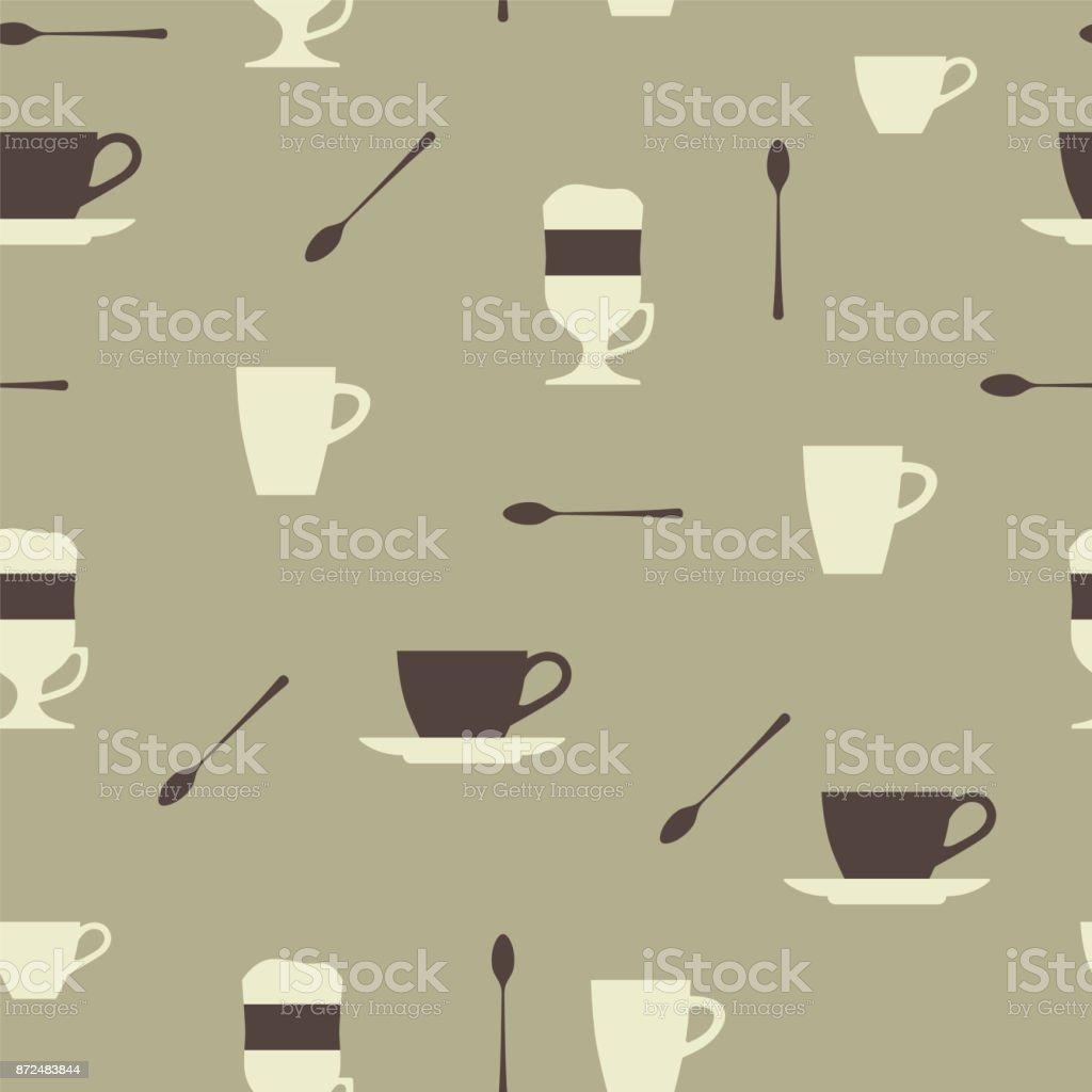 Xícaras de café. Café com leite, cappuccino, café expresso, café irlandês. De fundo vector sem emenda. - ilustração de arte em vetor