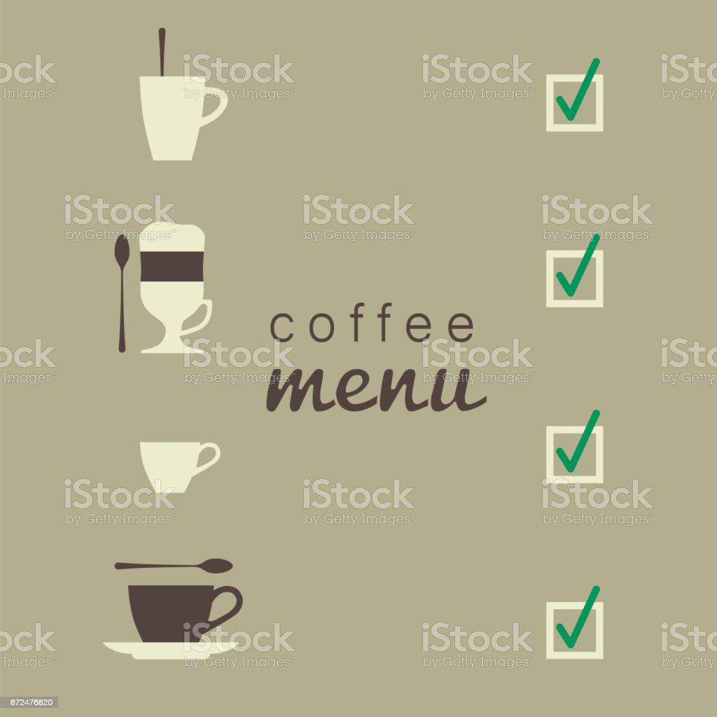 Xícaras de café. Café com leite, cappuccino, café expresso, café irlandês. Ilustração em vetor. - ilustração de arte em vetor