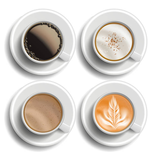 coffee cups set vector. top view. different types. coffee menu. hot latte, cappuchino, americano, raf coffee. fast food cup beverage. white mug. realistic isolated illustration - cappuccino stock illustrations