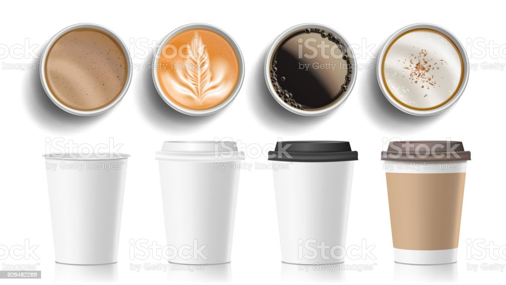 Coffee Cups Top View Vector. Plastic, Paper White Empty Fast Food Take Out Coffee Menu Mugs. Various Ocher Paper Cups. Breakfast Beverage. Realistic Isolated Illustration royalty-free coffee cups top view vector plastic paper white empty fast food take out coffee menu mugs various ocher paper cups breakfast beverage realistic isolated illustration stock illustration - download image now