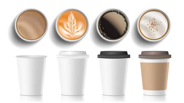 bildbanksillustrationer, clip art samt tecknat material och ikoner med kaffekoppar ovanifrån vektor. plast, papper vit tom snabbmat ta ut kaffe meny muggar. olika ockra pappersmuggar. frukost dryck. realistisk isolerade illustration - kaffekopp