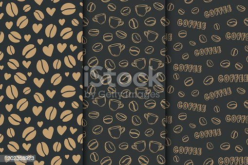 istock Coffee dark background with beans and hearts. Vector set of seamless pattern 1202358923