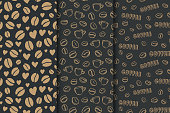 Coffee dark background with beans and hearts. Vector set of seamless pattern