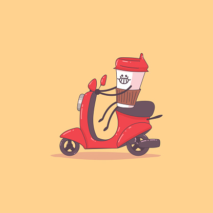 Coffee Delivery Cute Courier Character On The Moped Vector Cartoon Illustration Isolated On Background Stock Illustration Download Image Now Istock