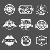 Coffee Vintage Labels Collection. Vector Symbols and Icons of Retro style. Mocha, Espresso, Ristretto, Latte, Americano.