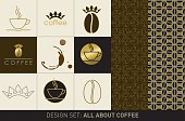 "Design set: ""all about coffee"" with two seamless patterns, a circular coffee stain and stylized illustrations of coffee cup, coffee bean and crown. The elements are kept in brown, yellow, beige and gold."