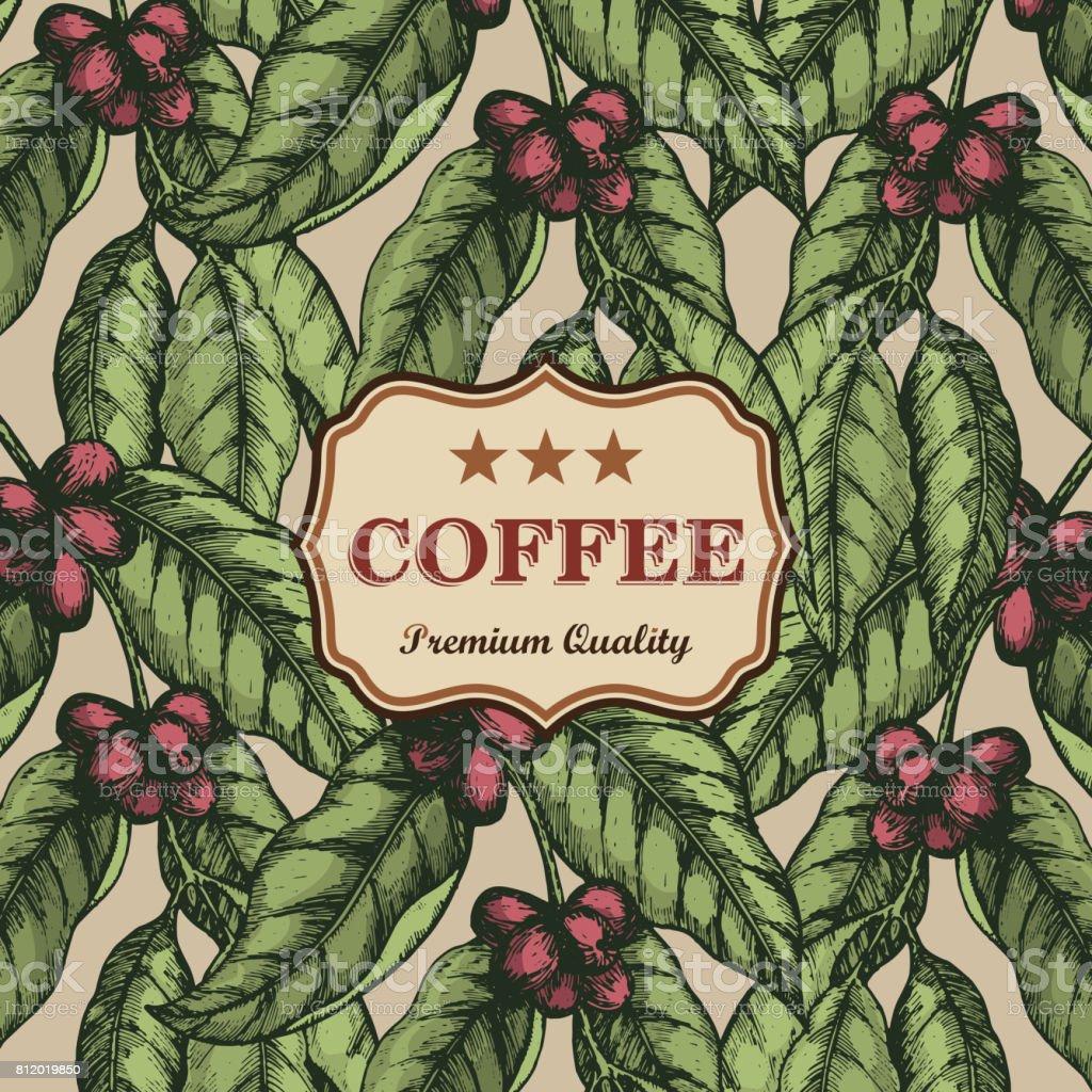 コーヒーのデザイン テンプレートです。コーヒーのブランチ彫刻イラスト。ベクトル図 ベクターアートイラスト