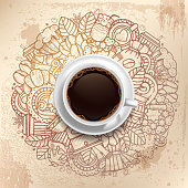 Coffee Round Design in Vintage Outline Hand Drawn Doodle Style with Different Objects on Coffee Theme.  Realistic Vector Coffee Cup on Center. Vector Illustration.