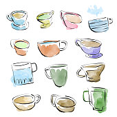 Vector illustration of a set of coffee related objects. Pencil drawings, doodle and sketch style. Color image.