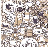A coffee & snacks doodle background.