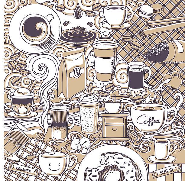 coffee doodle background vector art illustration