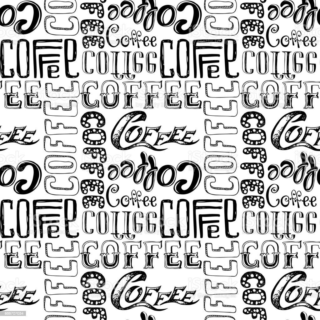 Café doodle Letras de patrones sin fisuras, - ilustración de arte vectorial