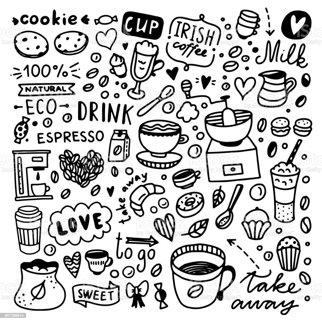 Coffee doodle set. Cute coffee and desserts food illustrations