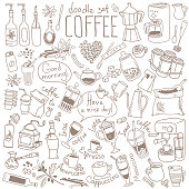Coffee doodle set. Variety of drinks and accessories. Cappuccino, espresso, latte, coffeemaker, french press, moka pot, cezve.