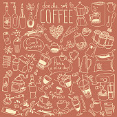 Cappuccino, espresso, latte, coffeemaker, french press, moka pot, cezve. Vector drawing for menu and cafe chalkboard.