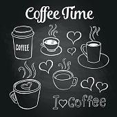 Coffee doodles on a chalkboard. Can be used as menu board for restaurant or bars.