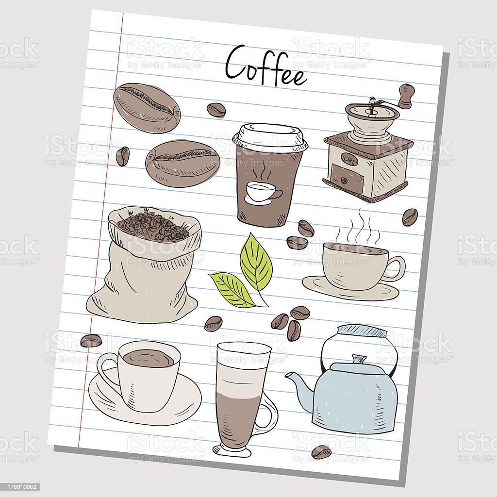 Coffee doodles - lined paper royalty-free coffee doodles lined paper stock vector art & more images of abstract