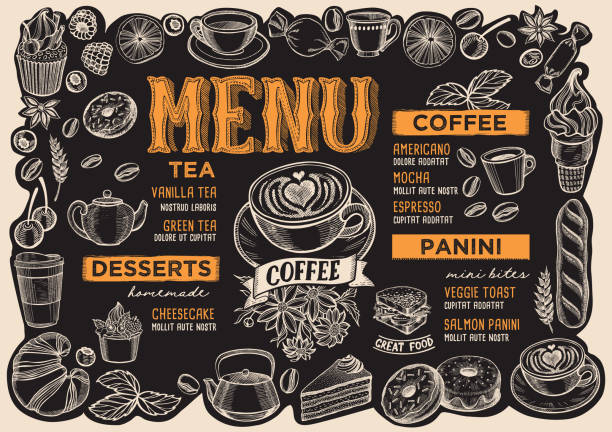 Coffee drink menu for restaurant with frame of hand-drawn fruits. Coffee menu template for restaurant on a blackboard background vector illustration brochure for food and drink cafe. Layout with vintage lettering and frame of hand-drawn graphic fruits and sweets. cafe stock illustrations