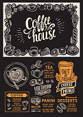 Coffee menu template for restaurant on a blackboard background vector illustration brochure for food and drink cafe. Design layout with vintage lettering and doodle hand-drawn graphic icons.