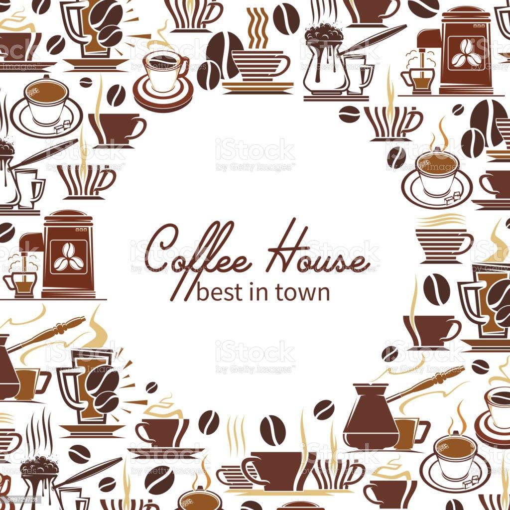カフェ デザインのコーヒー ドリンクや飲料メニュー フレーム アラビカ