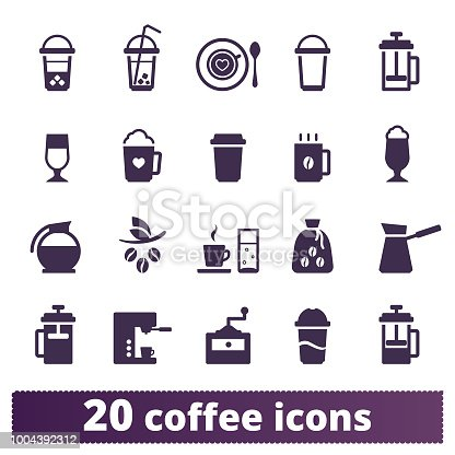 Coffee icons vector set. Simple coffeehouse symbols isolated on white background. Various types of hot and iced coffee drinks, coffee maker, mug, grains.