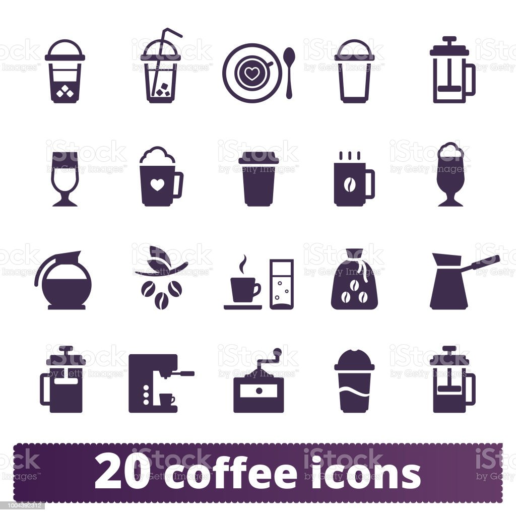 Coffee Drinks And Coffeehouse Vector Icons Set vector art illustration