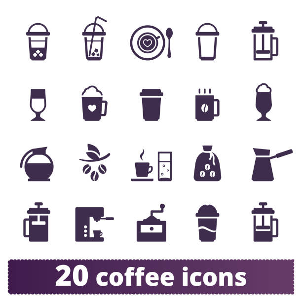 coffee drinks and coffeehouse vector icons set - barista stock illustrations, clip art, cartoons, & icons
