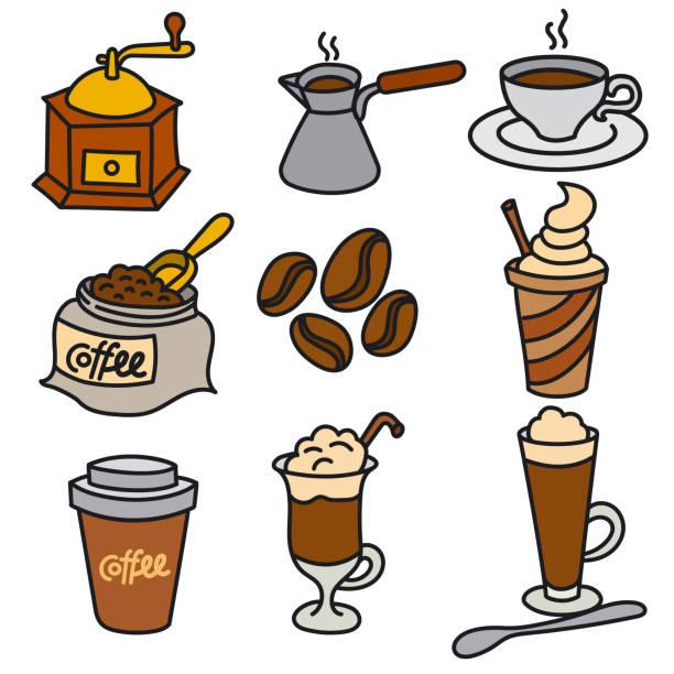 ilustrações de stock, clip art, desenhos animados e ícones de coffee drinks icons - café solúvel