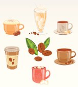 Vector icon set including; cappuccino with chocolate candies, frappe, turkish coffee with delights, plain coffee, hot chocolate or coffee with marshmallows and paper cup coffee. AI CS5 version is also available.