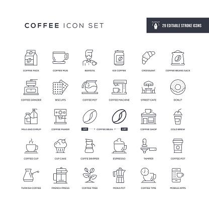 Coffee Editable Stroke Line Icons