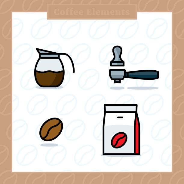 ilustrações de stock, clip art, desenhos animados e ícones de coffee elements colored icon set and colored vector illustration - café solúvel