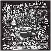 Coffee elements sketch in black and white
