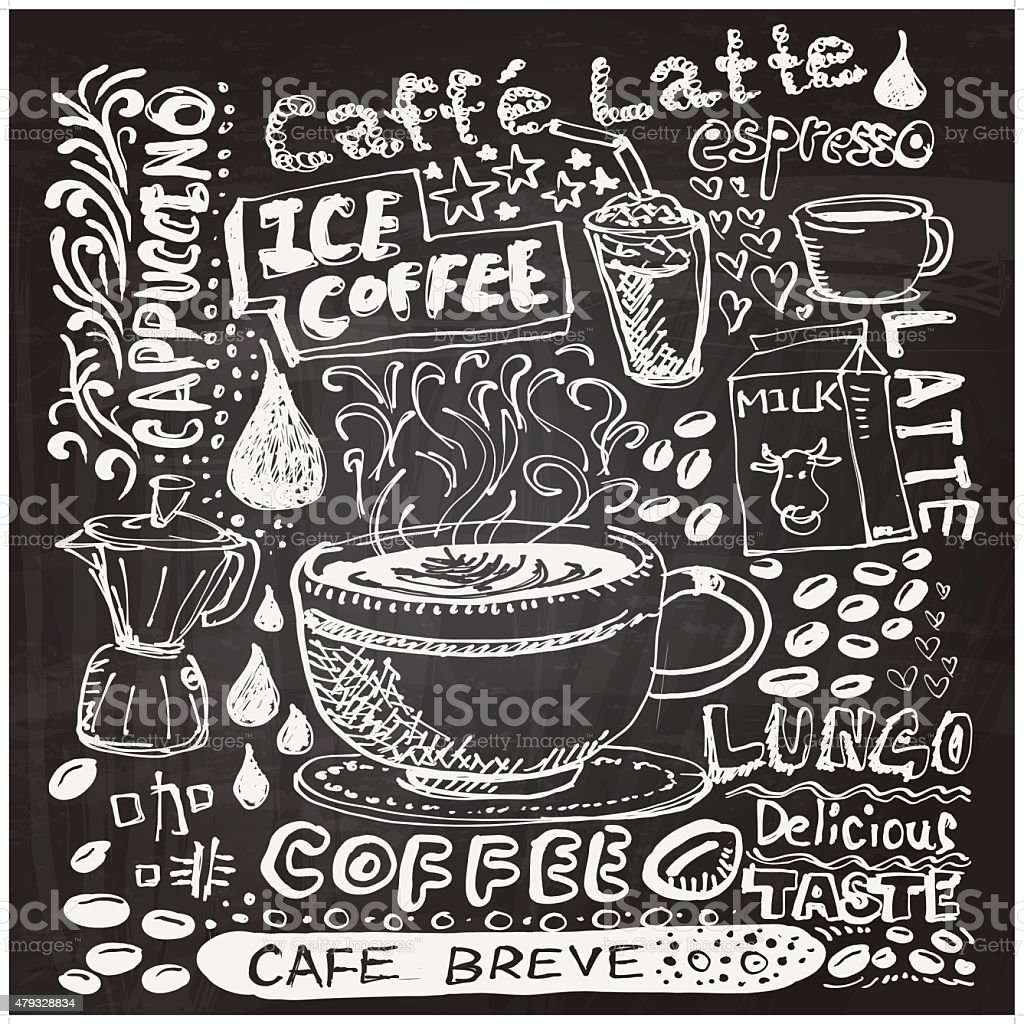 Coffee elements sketch in black and white vector art illustration