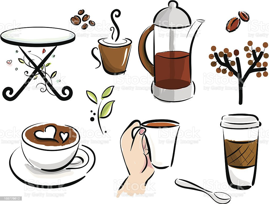 Coffee Elements royalty-free coffee elements stock vector art & more images of cappuccino