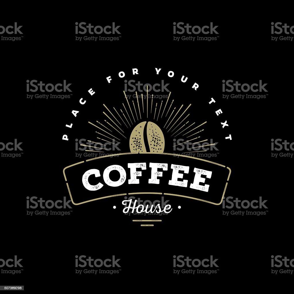 Coffee emblem black vector art illustration