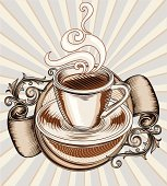 Cup of coffee & decoration, layered vector artwork