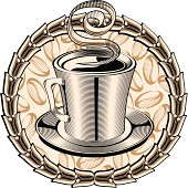 Cup of coffee & decorative wreath, retro-styled design; layered vector artwork
