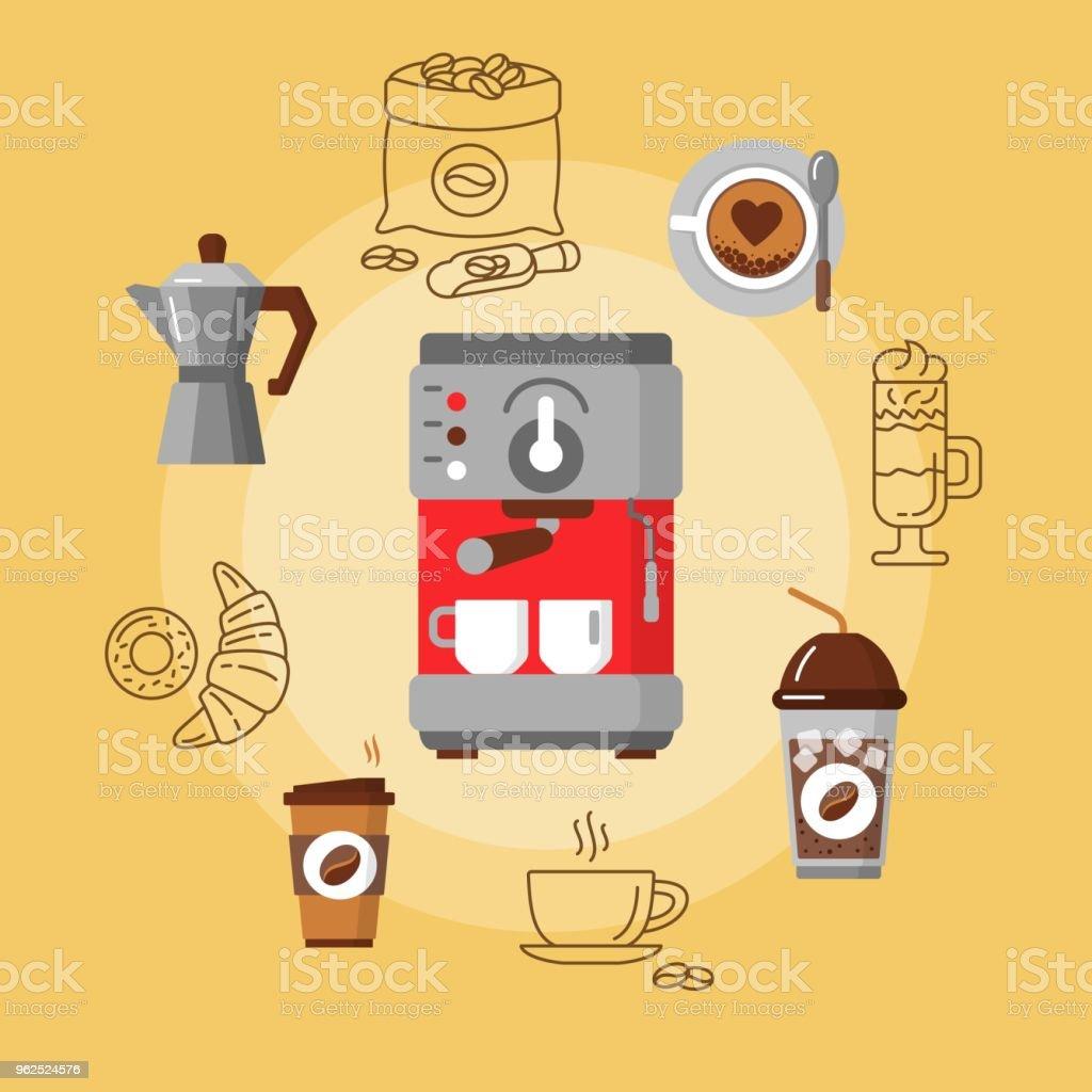Equipamento de café plana Concept. - Vetor de Beber royalty-free