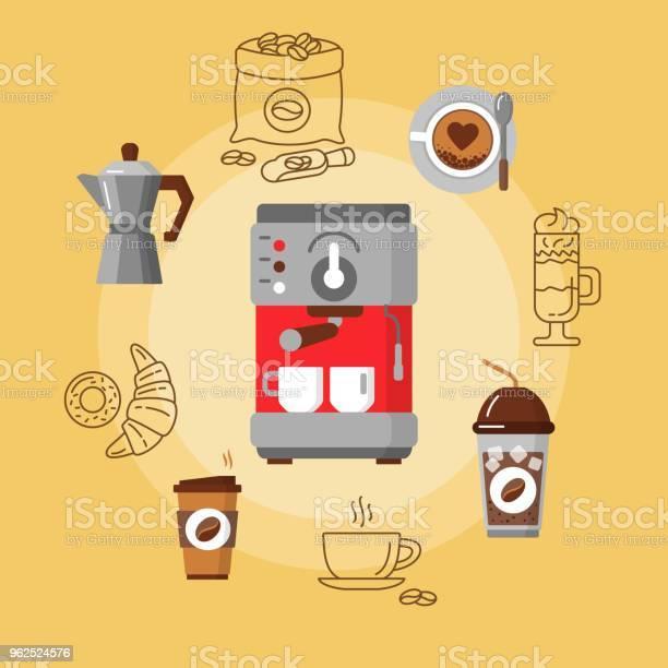 Vetores de Equipamento De Café Plana Concept e mais imagens de Beber