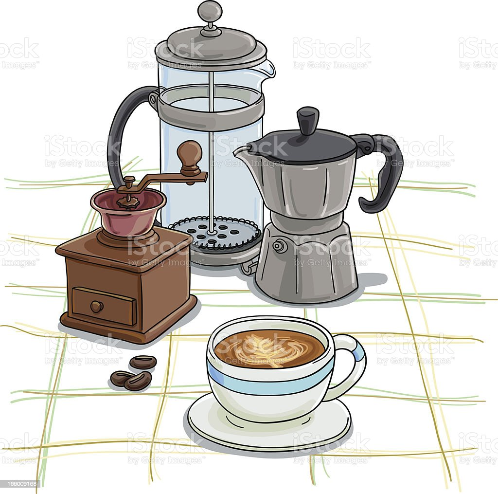 Coffee equipment in colour royalty-free stock vector art