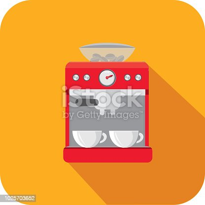 Vector illustration of a Coffee espresso machine  Flat Design themed Icon with shadow. Vector eps 10, fully editable.