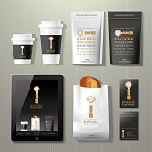 Coffee factory vintage corporate identity template design set