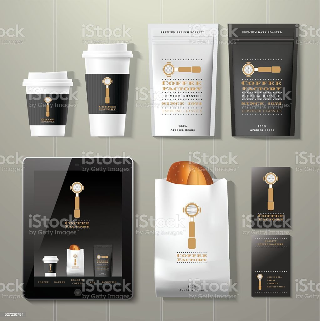 Coffee factory vintage corporate identity template design set vector art illustration