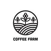 line Art Coffee Farm Logo Design Inspiration, can used cafe and bar logo template