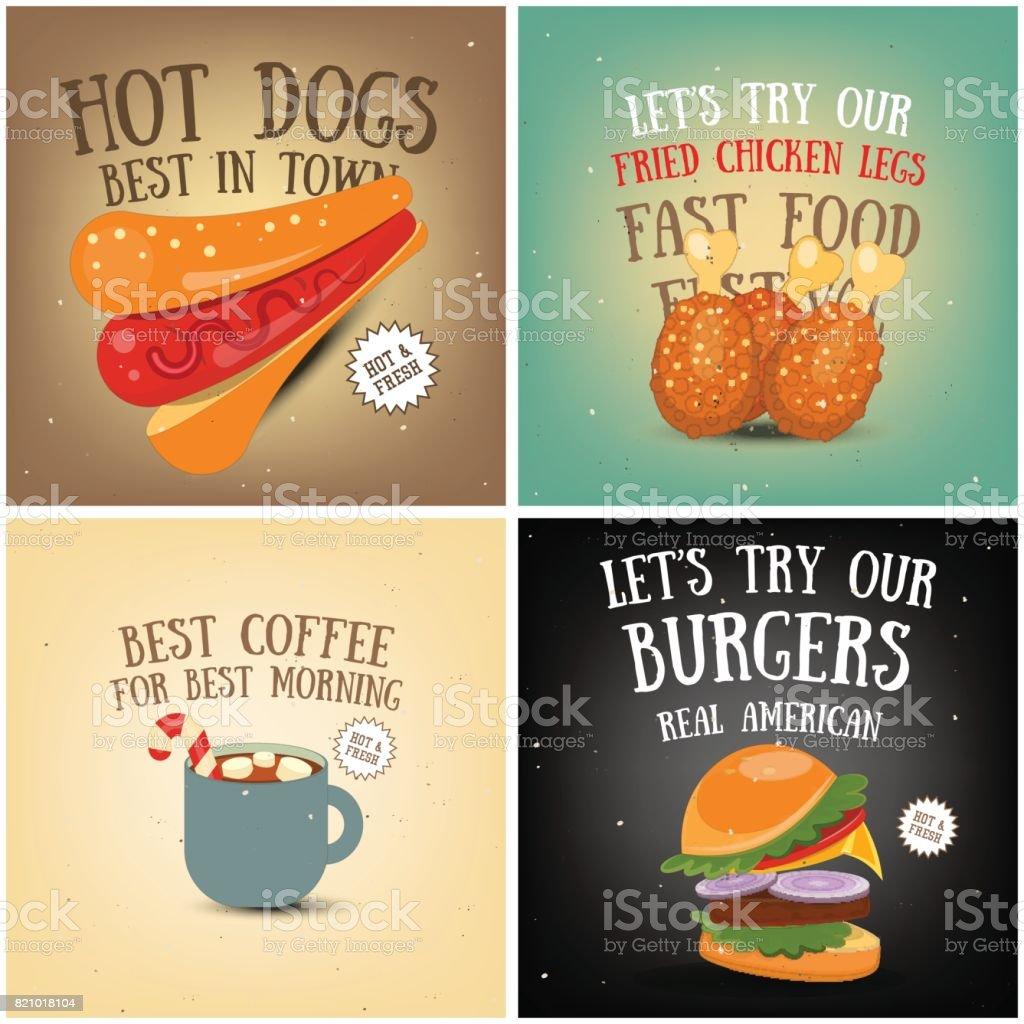Coffee, Fast Food, Ice Cream Posters vector art illustration